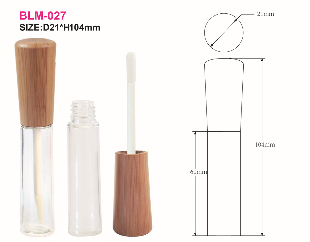 BLM-027 Beauty Professional bamboo lipgloss tube with high quality