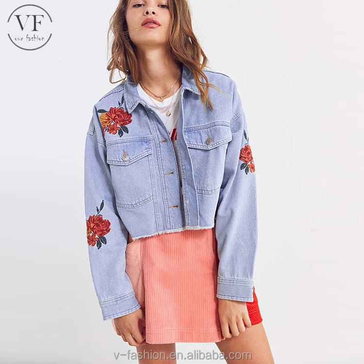 chinese clothing manufacturers custom embroidered rose lady cropped denim trucker jacket