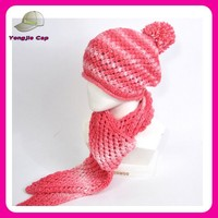 custom made OEM crochet knitted hat scarf set one piece hat and scarf