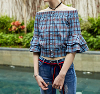 New European Style Ladies Off Shoulder Check Short Tops For Women