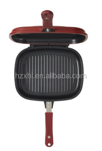 Aluminum die-casting ceramic nonstick double fry pan/griddle/grill pan
