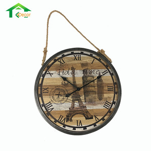 Creative Fashion Art Painting Wooden Vintage French Wall Clock