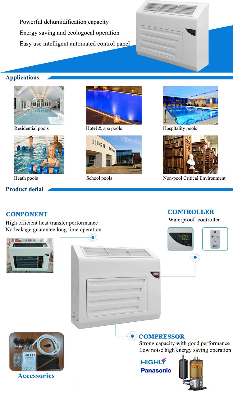 2.5L/h dehumidifier for indoor spa swimming pools