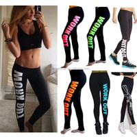 Orange hot Women girls WORK OUT Printed Tight Leggings Low Waist Jogging Pants