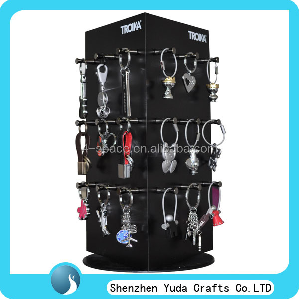 Multifunctional rotating acrylic pop display stand, perspex circular jewelry display with hook, keychain display rack