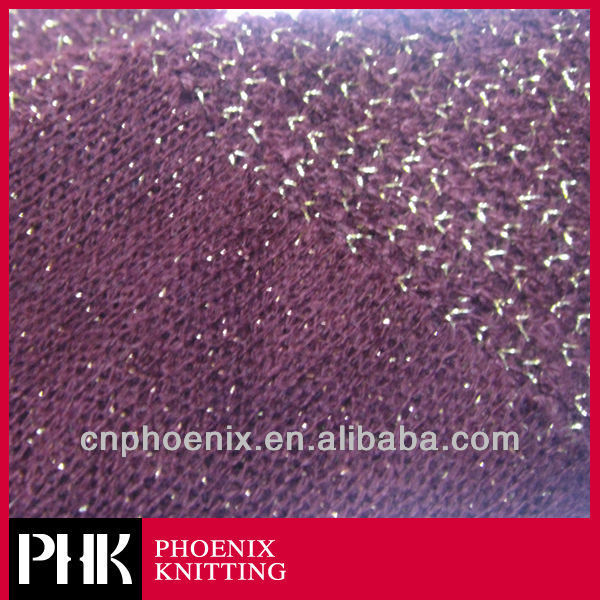 2014 fashion gold thread acrylic nylon blend napping sweater knitted fabric