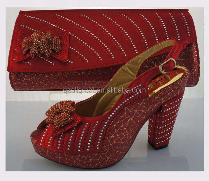 AB6176#4 wholesale African shoes and bag matching Italian design sandals shoe with bag
