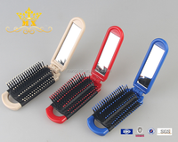 Plastic folding rectangle cosmetic mirror with comb