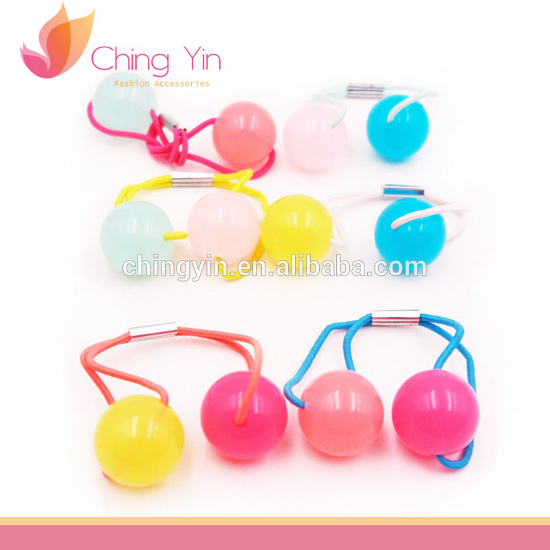 Cute Baby Girls Fashion Hair Accessories Frosted Beads Elastic Hair Band Ponytail Holder