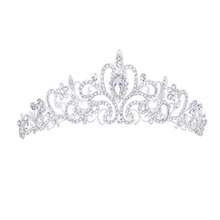 alloy and rhinestone silver color bridal wedding <strong>crown</strong> tiaras