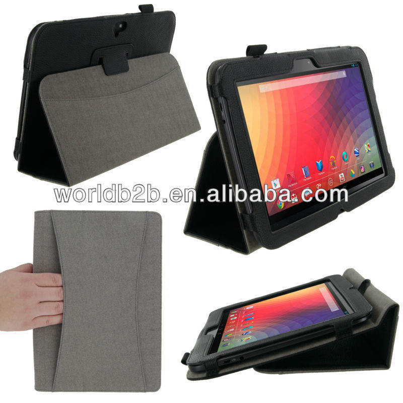 "Handheld Leather Stand Case for Google Nexus 10"" Tablet"