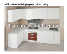 Kitchen cabinet with high gloss paint coating
