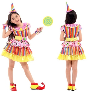 Promotional Cheap Halloween party dress kids Cosplay Rainbow Clown Costume Girls Coloured Clown Cosplay Clothes