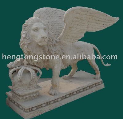 White Marble Flying Lion Statue