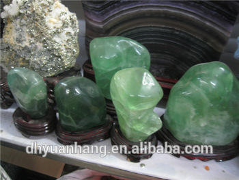Gem GREEN Fluorite Polished stones, Crystal Healing stones with stands Flourite