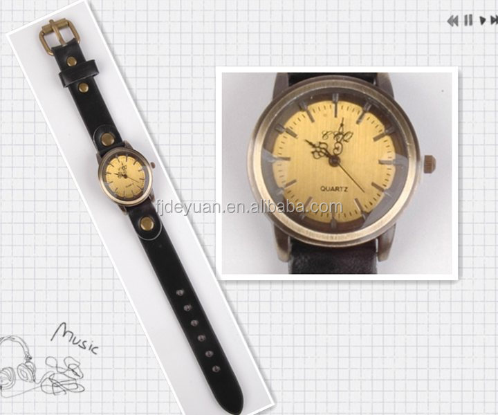 Bronze Brass leather wirst watches