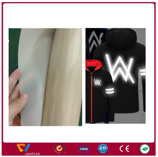 High visbility white color transparent PET printable reflective heat transfer vinyl film for shirt printing