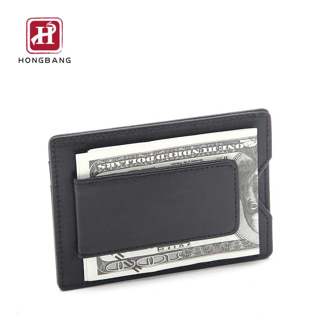 Front pocket money card holder, RFID leather card wallet