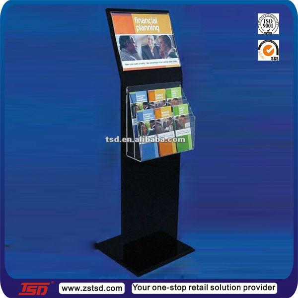 Tsd a221 custom hot sale transparent acrylic floor for Plastic flyer stand