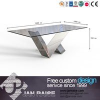 Home furniture living room high gloss dining table with glass top designs