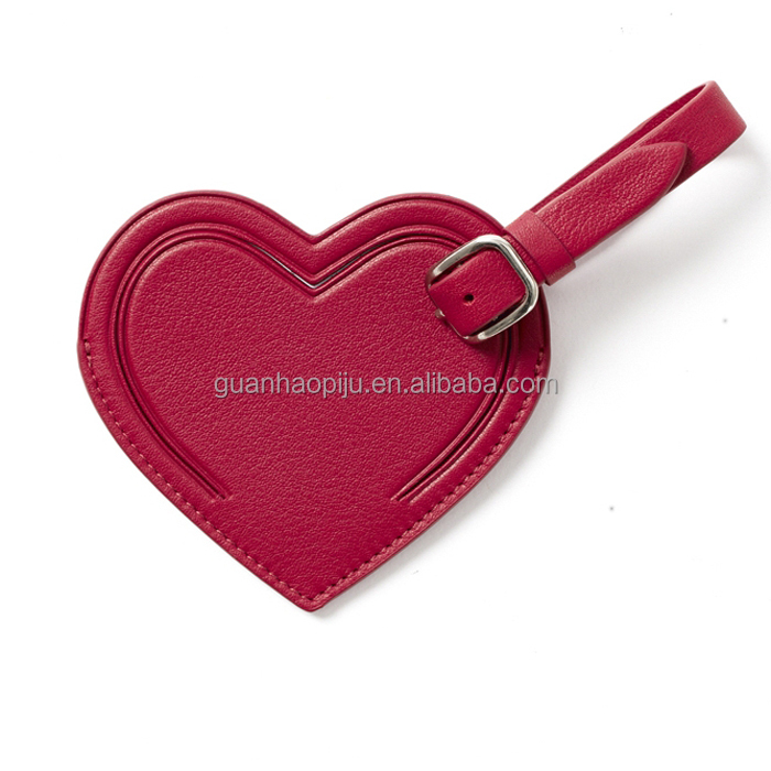 Custom Made Red Heart Shape Leather Luggage Tag