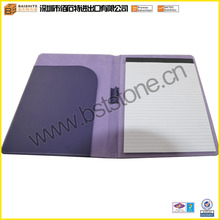 Purple A4 Leather Notepad Folder, Printed no ring binder
