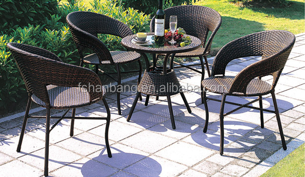 Factory Outlet Outdoor Rattan Resin Wicker Patio Garden Furniture 3 5 Pieces Table Chairs Set