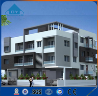 New Design Light Steel Villa with 3 Bedroom House Plans, Hotel