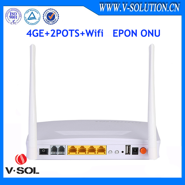 EPON 2FXS 4GE wireless wifi network onu ethernet router