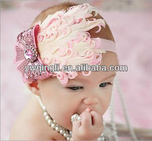2013 Fashion style Mixed color Headband with Flower for Girls Baby Light Pink Flower Headband Hair Accessories for Children