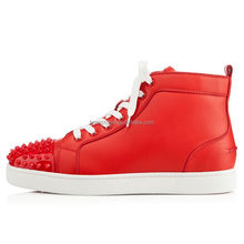 Korean style fashion casual shoes men high top rivets sneakers red upper shoes with white lace