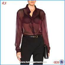 Hot Sale Fashion Sexy Women See Through Costomes Blouses / Net Kurti Designs Shirts