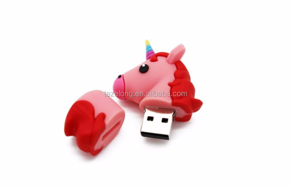 Newest cartoon unicorn usb flash drive soft pvc emoji shape U disk , usb flash disk