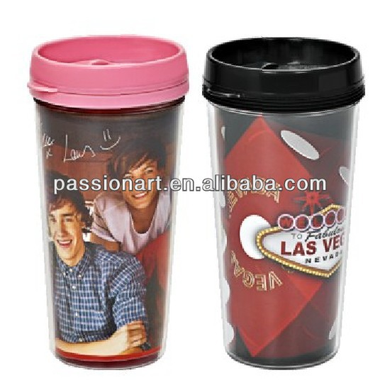 insulated double layer plastic cup