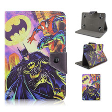 Batman and Spiderman Cartoon Design PU Leather Folio Stand Universal Cases with Retractors For 7/8/9/10inch Tablets PC