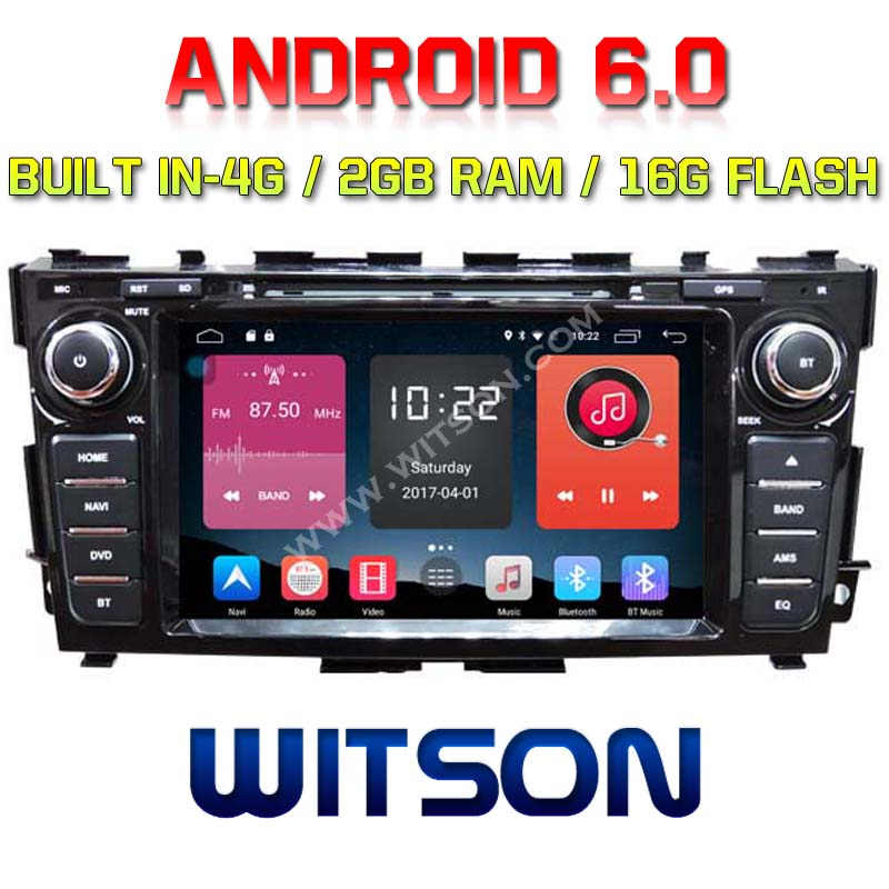 WITSON QUAD-Core Android 6.0 AUTO DVD NAVIGATION For NISSAN TEANA 2013 2G ROM 16GB ROM BUILT IN 4G ADAS FUNCTION SUPPORT