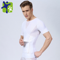 Mens High Powernet t shirt, with Waist Training Corset NY042