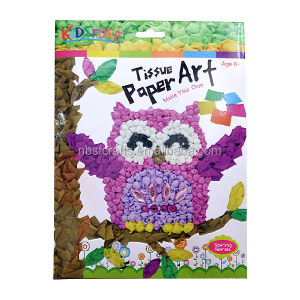 DIY Tissue Paper Art- Owl, Paper Kid Toy