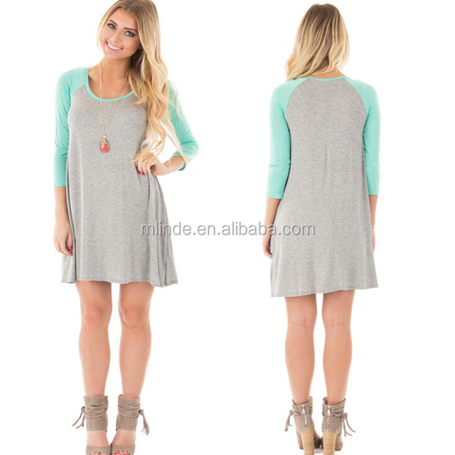 High Fashion Designer Clothing Manufacturers 95% Rayon 5% Spandex Heather Grey and Mint 3/4 Sleeve Baseball Dress