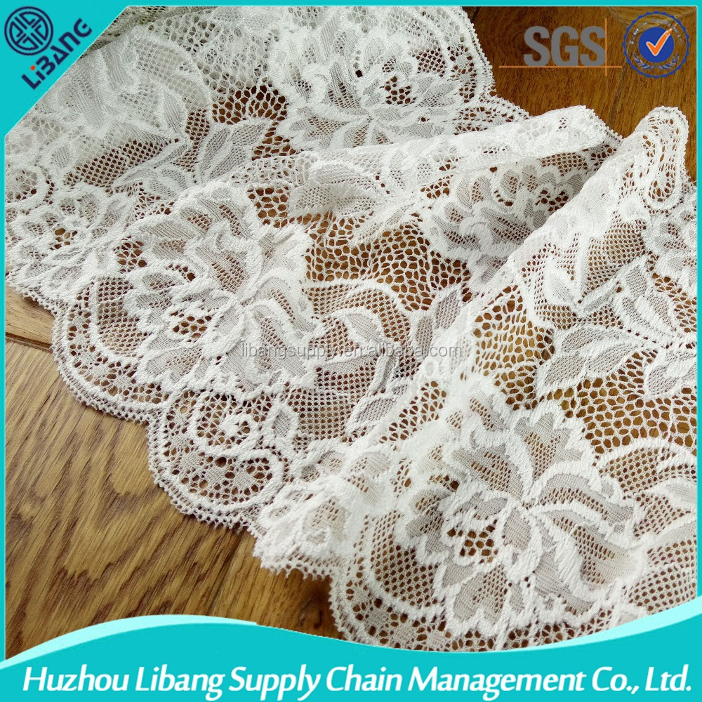 custom width narrow stretch wedding lace fabric for Lingerie