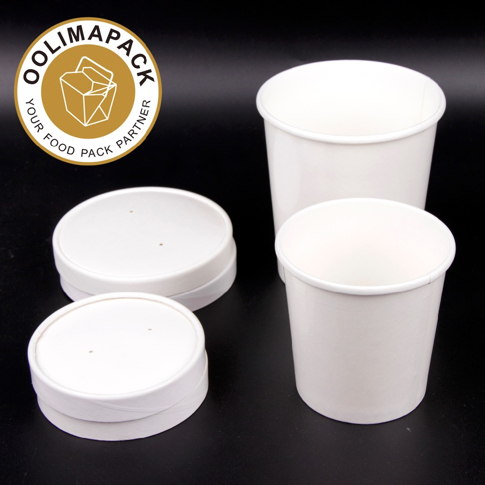 Soup and frozen dessert ice cream container with vented flat lid,,12oz take out cup with lid for soup and ice cream