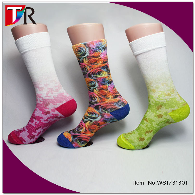 China Sock Manufacturer Bulk Cheap Wholesale Man Sport Cycling Bamboo Fiber Sublimated Print Socks