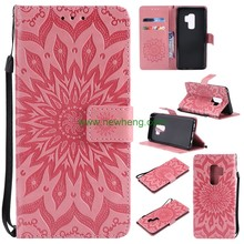 Sunflower Embossed Leather PU Flip Stand Cover Card Slots Wallet Case for Samsung S9