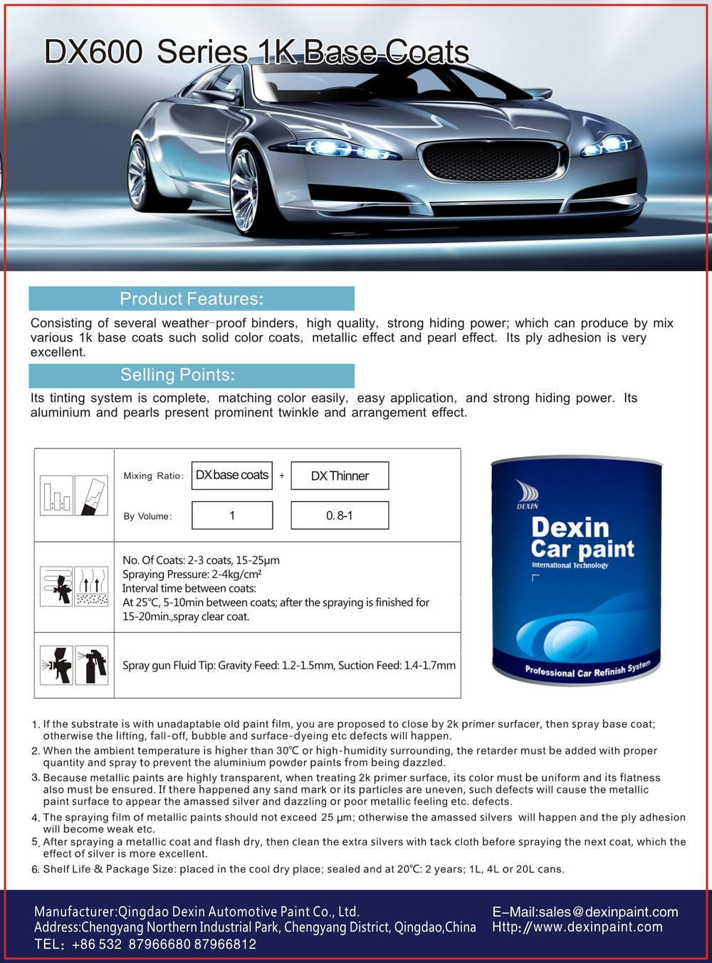 Dexin Series 1k Metallic Auto Paint