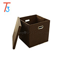 Home closet organizer cardboard linen fabric stackable storage box with cover