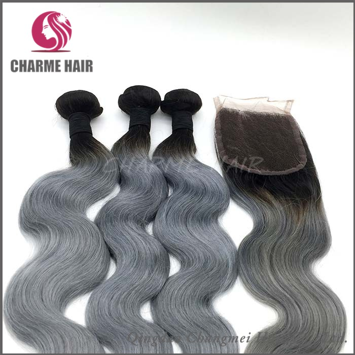 Wholesale Dark Grey Human Hair Brazilian Hair Extension For Braiding