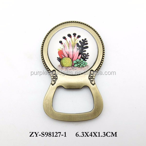 2018 wholesale glass metal bottle opener with magnet with leaf design for gift and souvenir