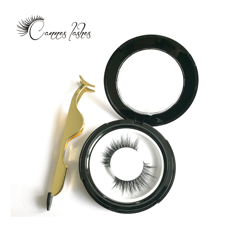 private label 3d mink eye lashes with custom round case custom packaging case