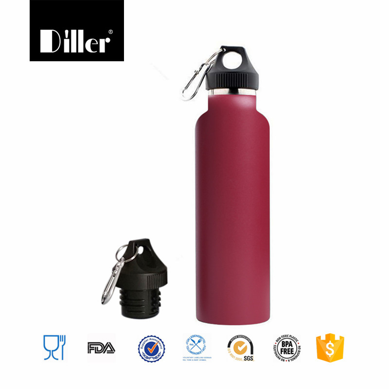 BPA- free standard mouth loop cap insulated stainless steel water bottle 21oz