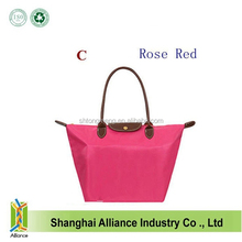 Long Handle Tote Shopping Bag Foldable Waterproof Storage Eco Shopping Tote Bags Nylon WaterProof Colorful Handbag